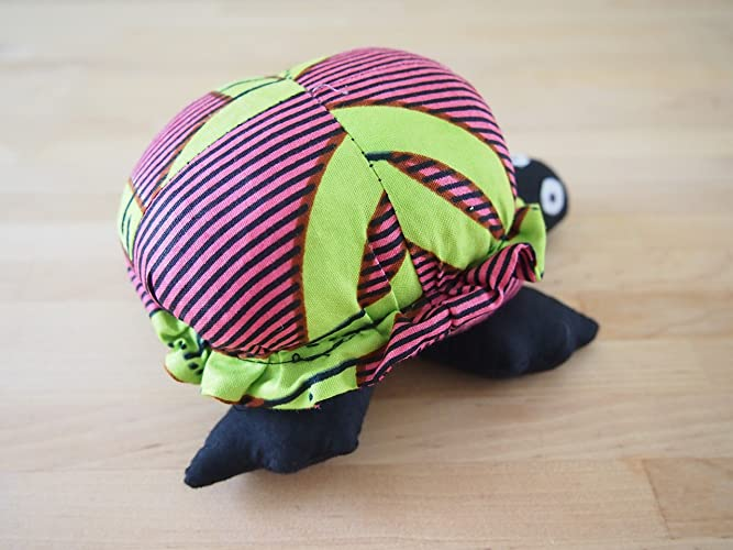 Amazon.com: African Turtle Stuffed Animal, Made in Rwanda, Pink & Green: Handmade