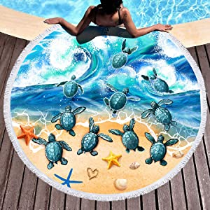 Bonsai Tree Turtle Beach Blanket, Sea Turtle Round Beach Towel Blanket with Fringe Tassels, Ocean Microfiber Circle Yoga Mat Meditation Rug - 59 Inches
