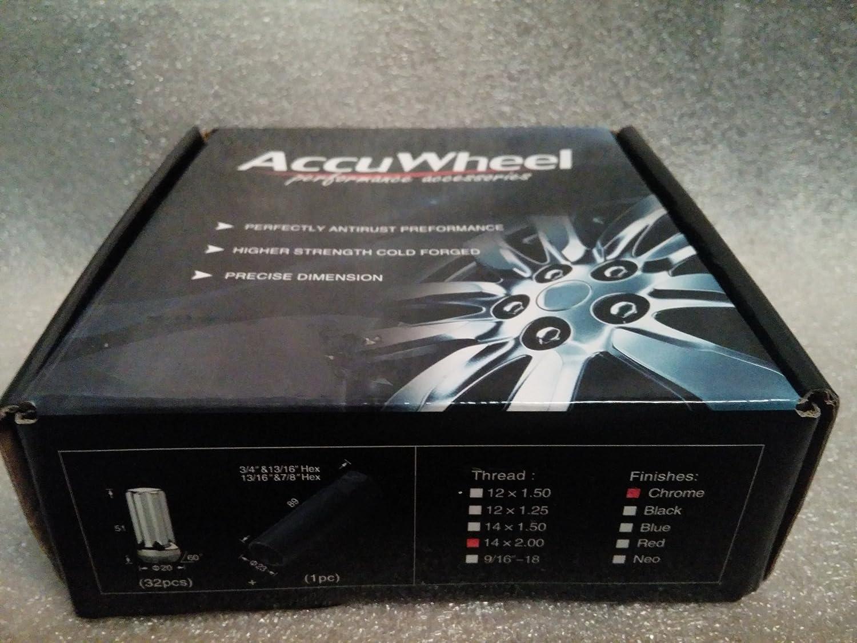 AccuWheel LNS-12150B5 Small Diameter Acorn Spline Drive Black Lug Nuts with Key Pack of 20 Lugnuts AccuWheel Automotive 12mm x 1.5 Thread Size
