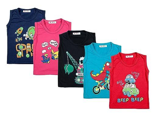 f428cab4a0e1 Kuchipoo Unisex Kid's Cotton Combo Of 5 Sleeveless T-Shirts (Multicolor_1-2  Years