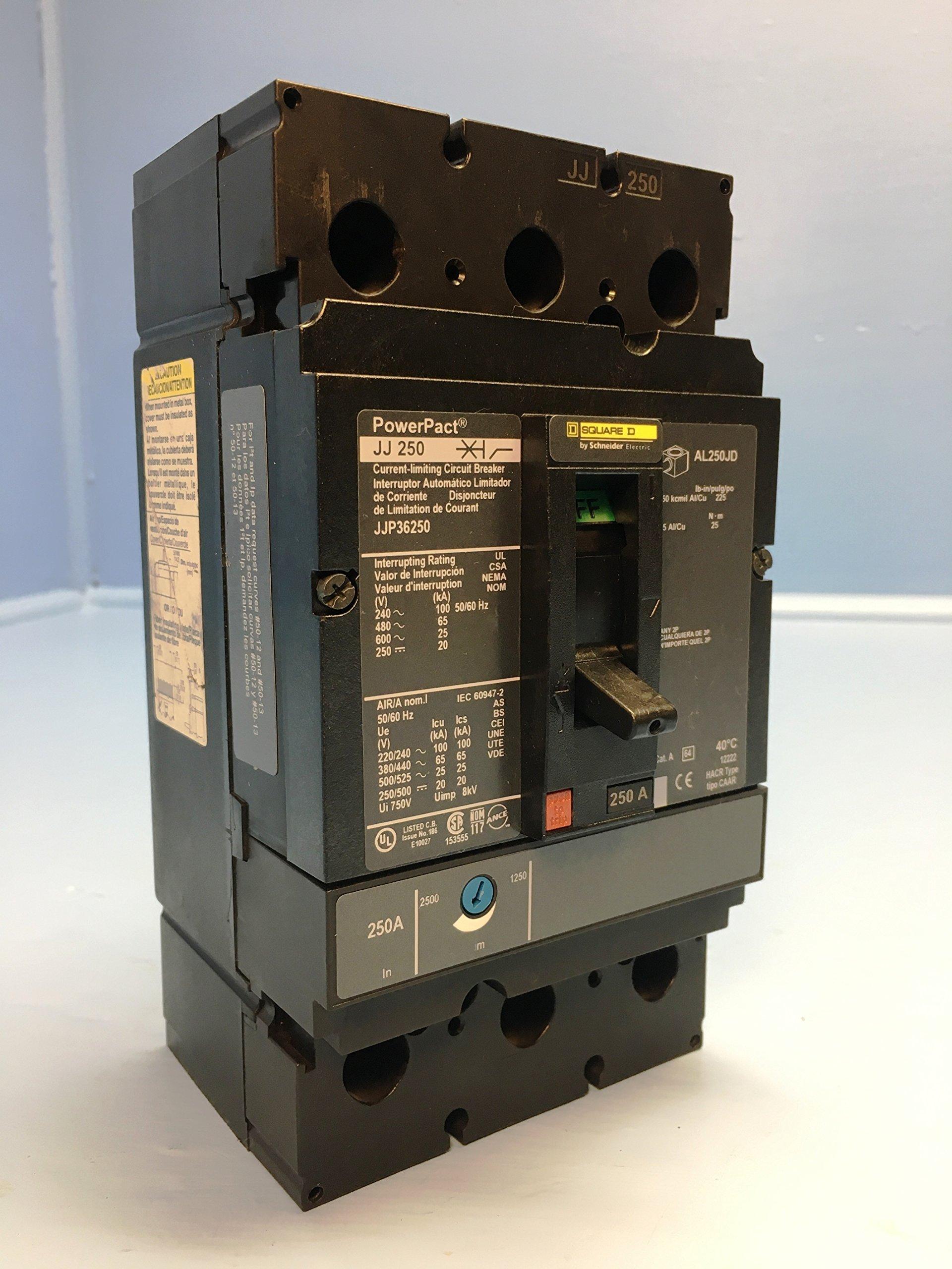 Square D JJP36250 JJ 250 Amp PowerPact Circuit Breaker 3P 600V JJ250 250A HACR