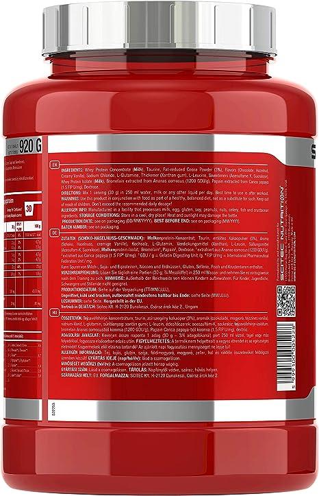 Scitec Nutrition 100% Whey Protein Professional con aminoácidos clave y enzimas digestivas adicionales, 920 g, Chocolate-Avellana