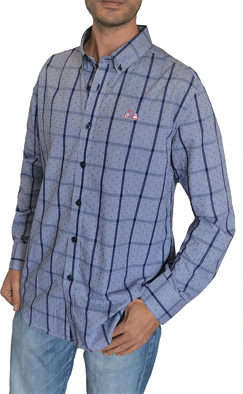 Coolbike Camisa Azul Marino con topitos y Rayas Vespa - | Custom Fit | Logo Bordado de La Vespa (XL): Amazon.es: Ropa y accesorios