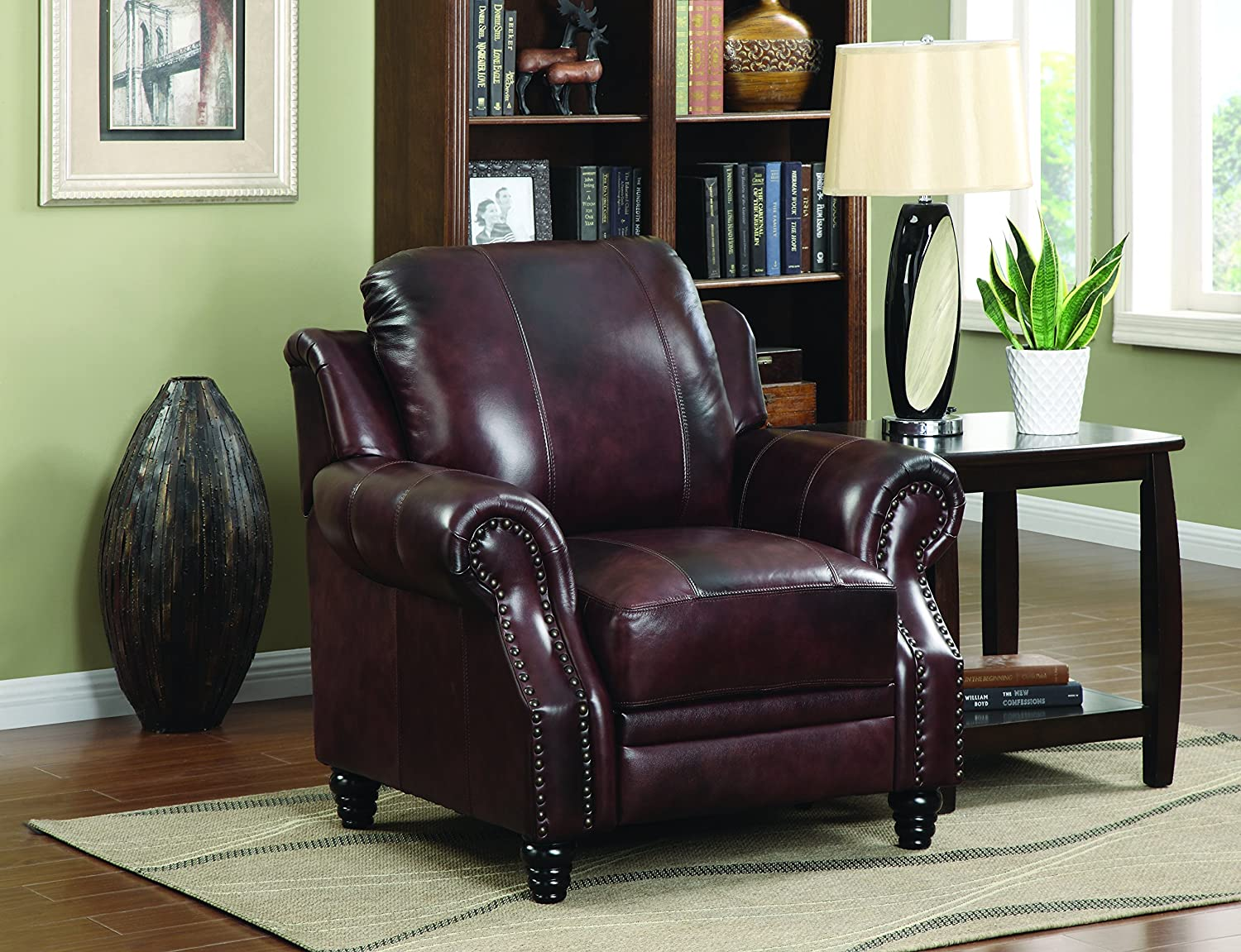 Coaster Home Furnishings Princeton Rolled Arms Push Back Recliner Burgundy