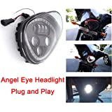 Angel Eye LED Headlight For 10-16 Victory Motorcycle Cruisers Cross Road Country (Black)