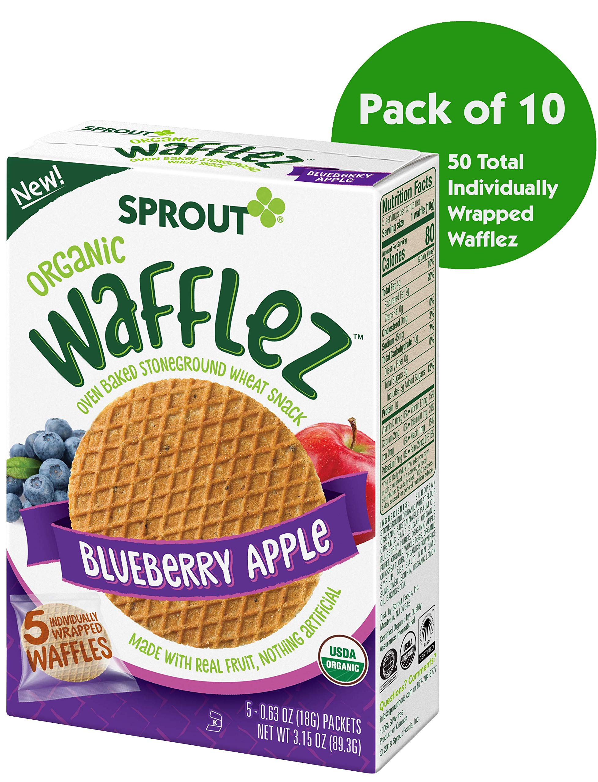 Sprout Organic Wafflez Toddler Snacks, Blueberry Apple, 5 Count Box of Individually Wrapped Waffles (Pack of 10 Boxes)
