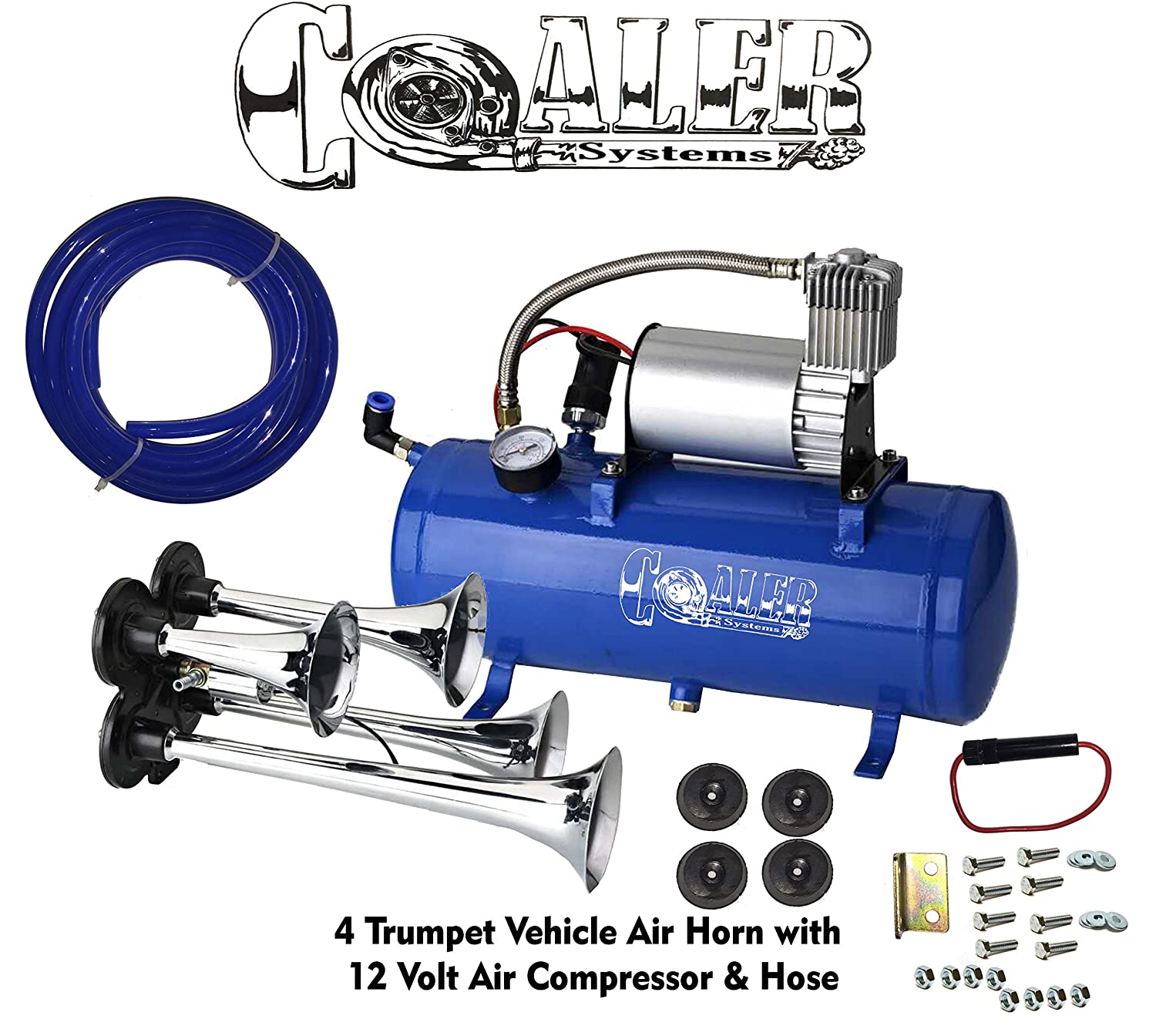 Air Horn Compressor >> Air Horn 4 Trumpet 12 Volt Compressor 9ft Hose 150 Db Train 120 Psi Kit Truck