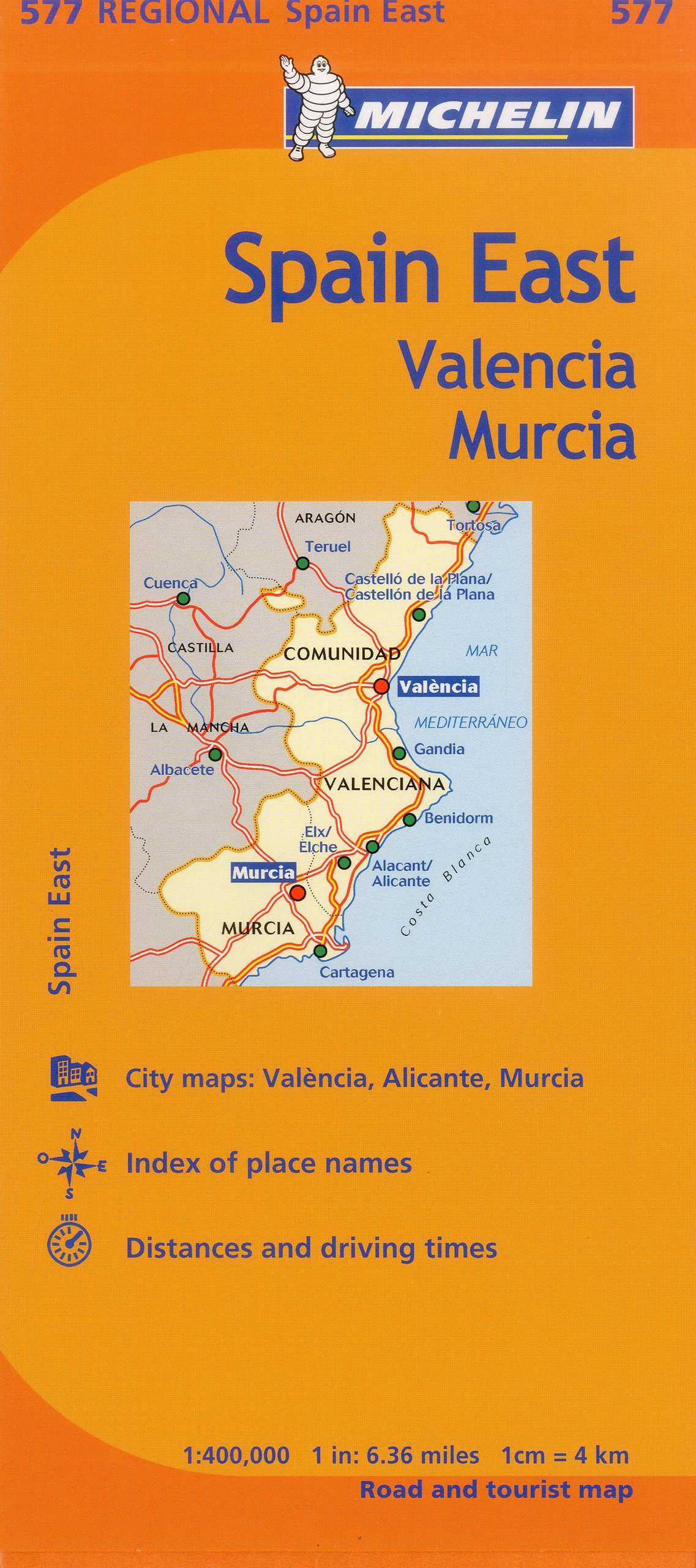 Map Of Spain Murcia.Michelin Spain East Valencia Murcia Map 577 Maps Regional