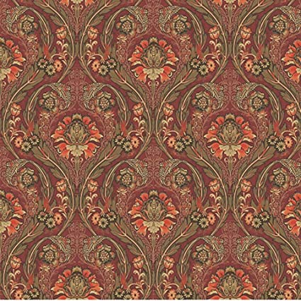 Vintage RedGold Damask Wallpaper Approximately 11 Yards x 21 Inches Pre-Pasted