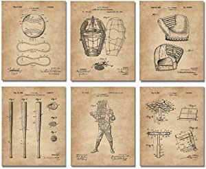 Vintage Baseball Patent Prints -Set of 6 (8x10)- Unframed Wall Art Room Decor Great Gifts for MLB Fans Man Cave Men Boys