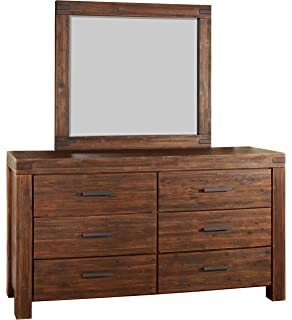 modus furniture 3f4183 meadow solid wood mirror brick brown brown solid wood furniture