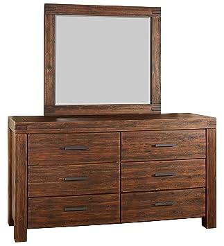 Modus Furniture 3F4183 Meadow Solid Wood Mirror, Brick Brown
