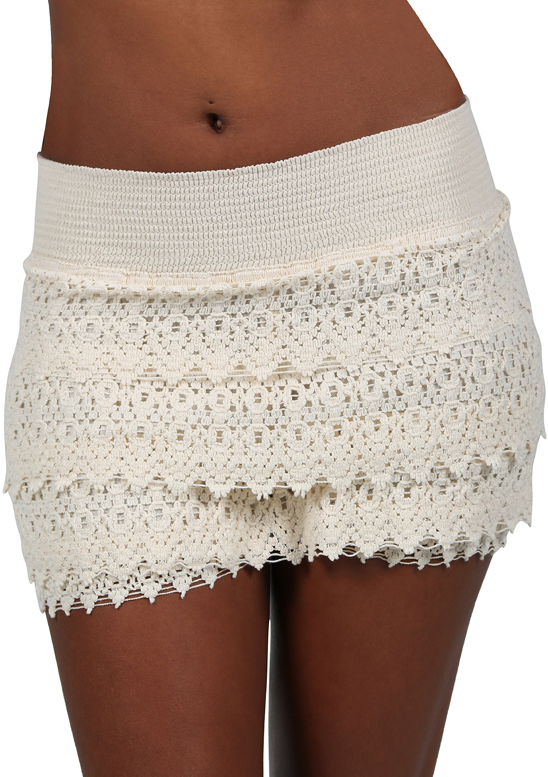 PURE COTTON Women's Lace Shorts Casual Cotton Crochet Summer Beach Miniskirts (Ivory, XXX-Large)