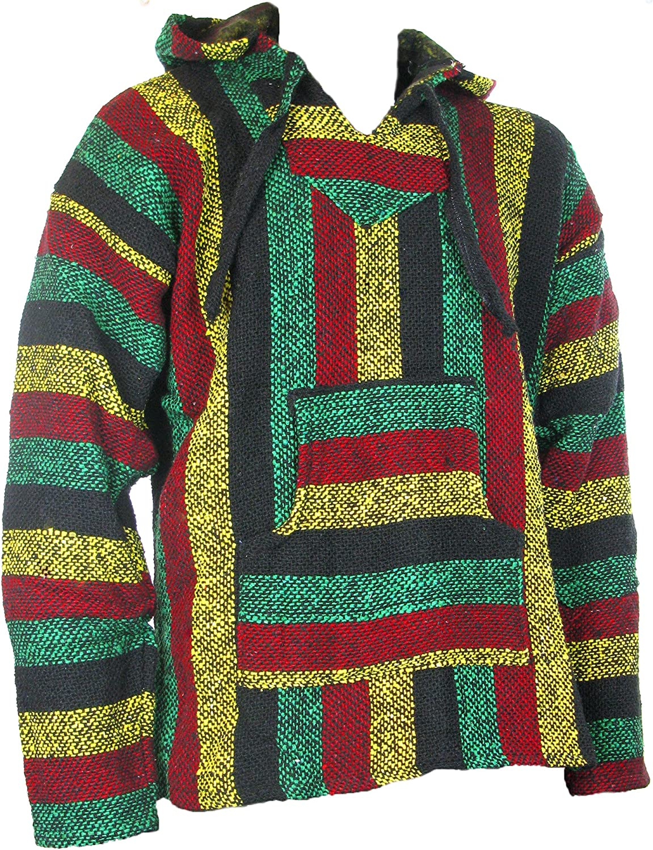 Siesta - Sudadera con capucha estilo mexicano, diseño hippy, colores rasta, Sz, M, L, XL, XXL