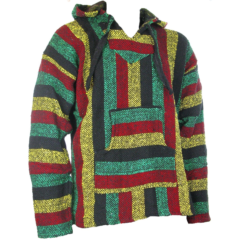 TALLA 3XL. Siesta - Sudadera con capucha estilo mexicano, diseño hippy, colores rasta, Sz, M, L, XL, XXL
