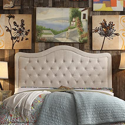Rosevera Turin Tufted Upholstered Headboard, King, Beige