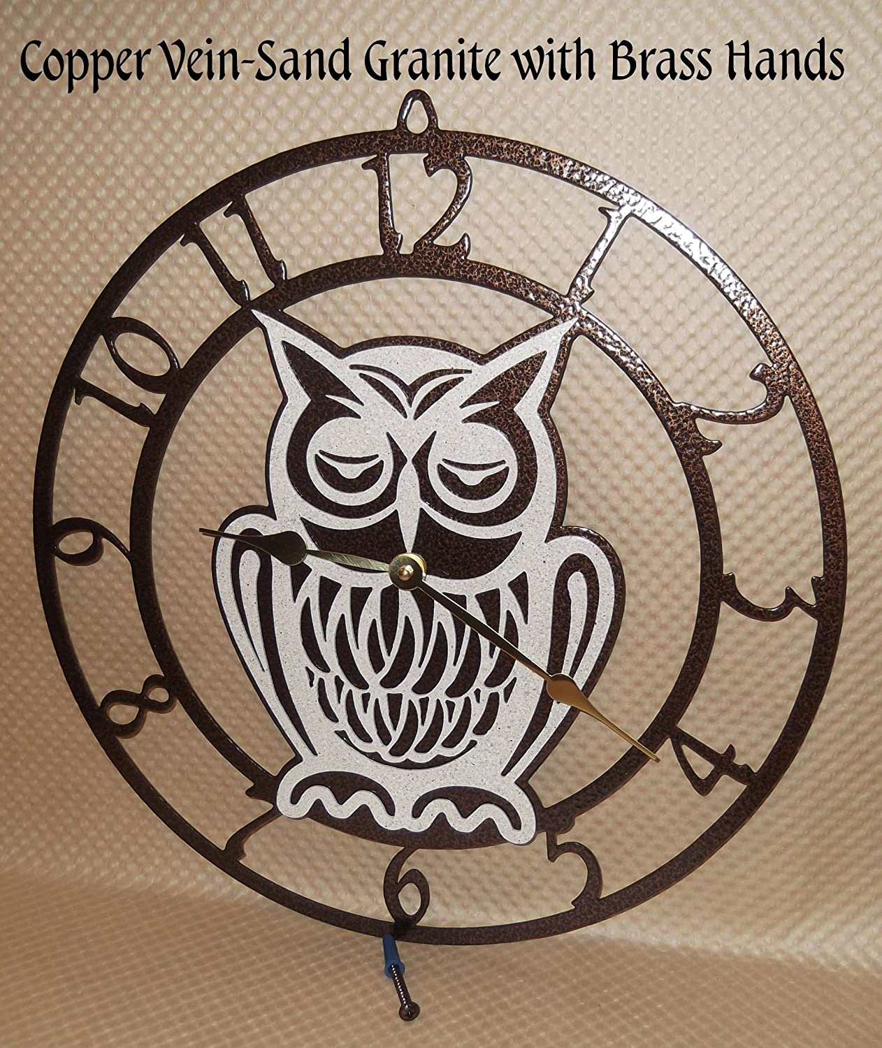 Owl Wall Clock. Handmade in USA. Copper Vein with Brass Hands. USA Quartz Movement. 15 Inch Wide.
