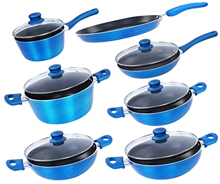 Nirlon Aluminium Cookware Set, 7-Pieces, Blue (FGD_7654321) Pot & Pan Sets at amazon