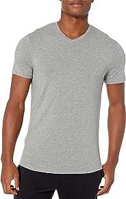 Amazon Brand - Peak Velocity Men's Pima Cotton Modal V-Neck Tee