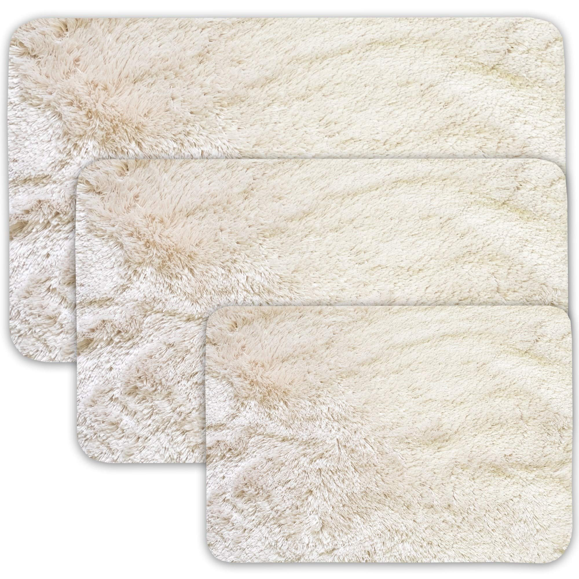 3 Piece White Shag Bath Rug Set Solid Color Fauxfur Shaggy Chenille Bath Rug Mat Super Soft Cozy Bathtub Mat Floor Carpet Master Guest Bathroom Decor Water Absorbent Nonslip, Polyester Microfiber