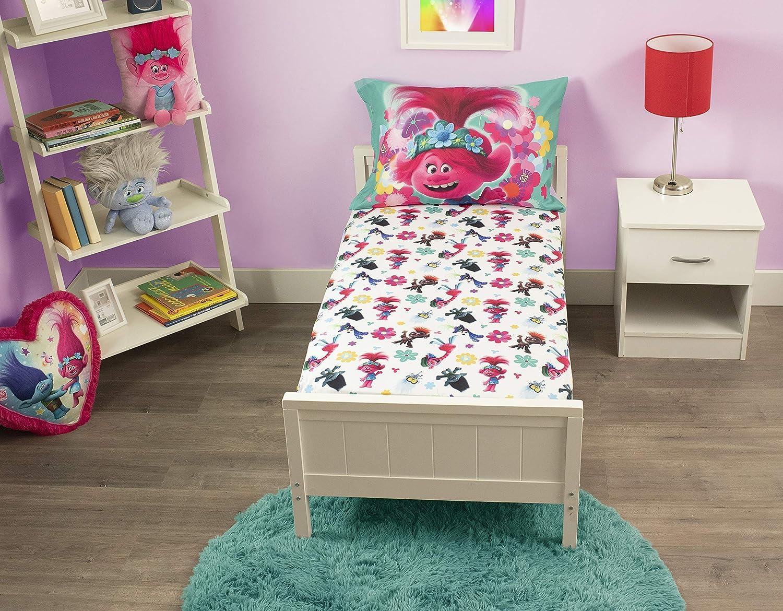DreamWorks Trolls Troll Lotta Love Fitted Sheet & Pillow Case, Pink, Toddler (TRO263)