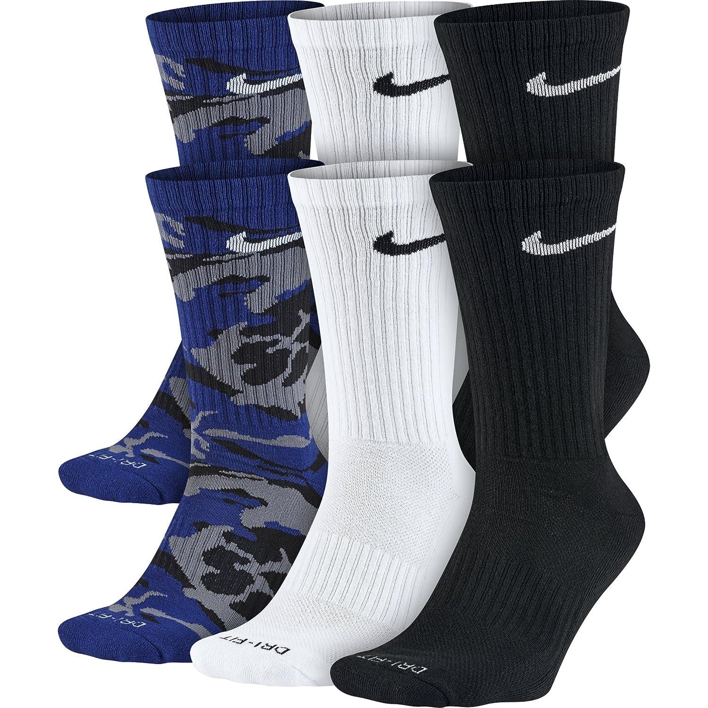 Calcetines acolchados Nike Dri Fit para hombre (grandes, estadio negro / blanco / gris juego): Amazon.es: Deportes y aire libre