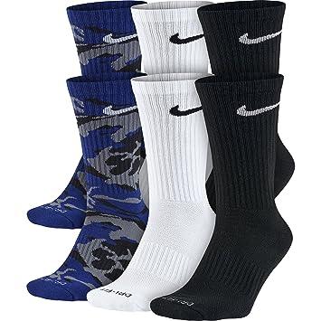 Calcetines acolchados Nike Dri Fit para hombre (grandes, estadio negro / blanco / gris