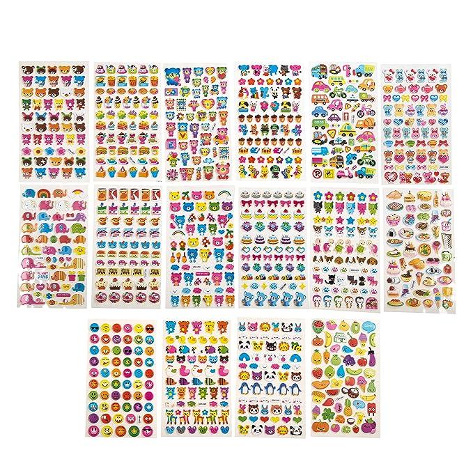 Motivationsaufkleber versch/önern von Geschenken 16 Stickerb/ögen mit diversen Motiven Organisationshilfe f/ür Lehrer Stickeralbum Basteln OKCS 3D Puffy Sticker