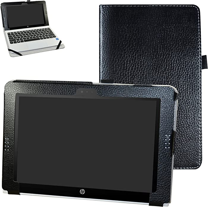 """HP Pavilion x2 10 / HP x2 210 G1 Case,Mama Mouth PU Leather Folio Stand Cover for 10.1"""" HP Pavilion X2 10-n113dx n114dx n123dx n124dx n013dx / HP x2 210 G1 Detachable 2-in-1 Laptop/Tablet,Black"""
