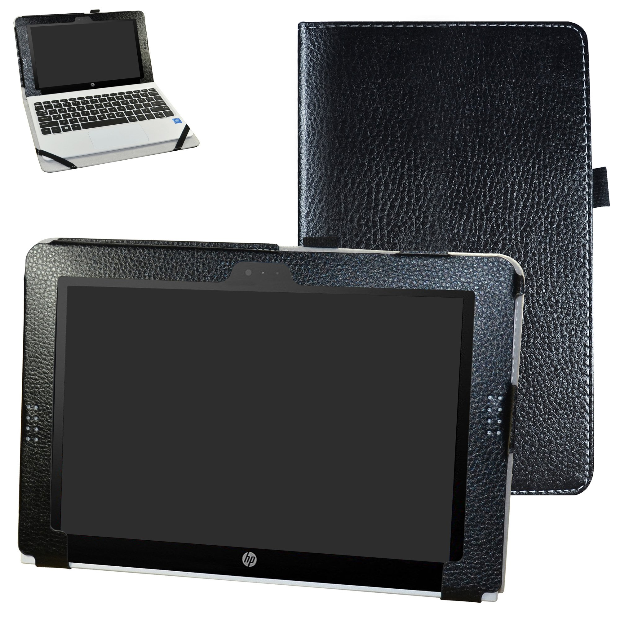 HP Pavilion x2 10 / HP x2 210 G1 Case,Mama Mouth PU Leather Folio Stand Cover for 10.1'' HP Pavilion X2 10-n113dx n114dx n123dx n124dx n013dx / HP x2 210 G1 Detachable 2-in-1 Laptop/Tablet,Black