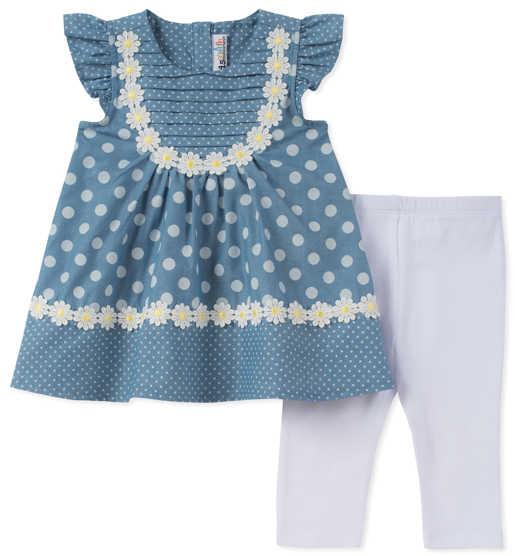 Kids Headquarters Girls' Toddler Tunic Set-Capsleeves, Blue/Yellow, 3T