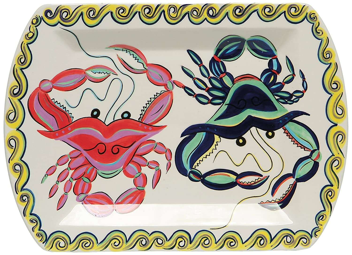 Christmas Tablescape Décor - Large ceramic whimsical crab inspired multicolor rectangular serving platter by Dana Wittmann