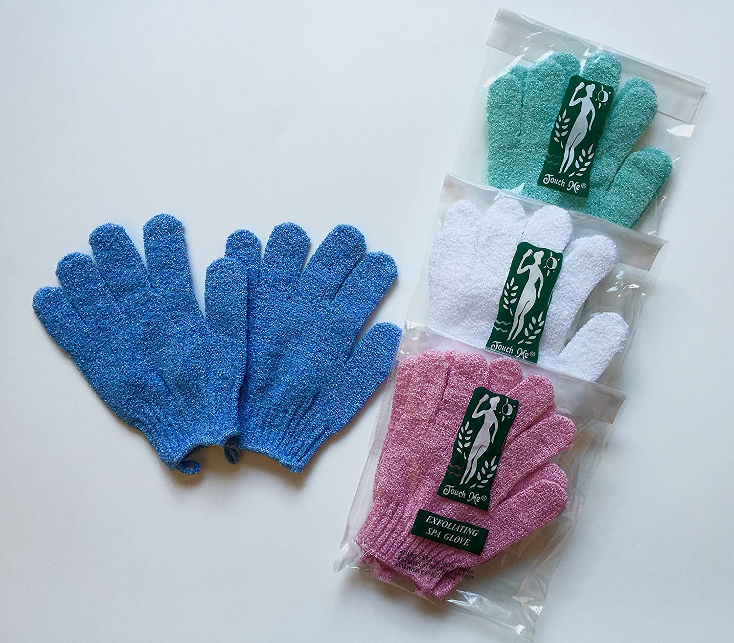 Amazon.com : 4 pairs/set Touch Me Exfoliating Spa Bath Gloves ...