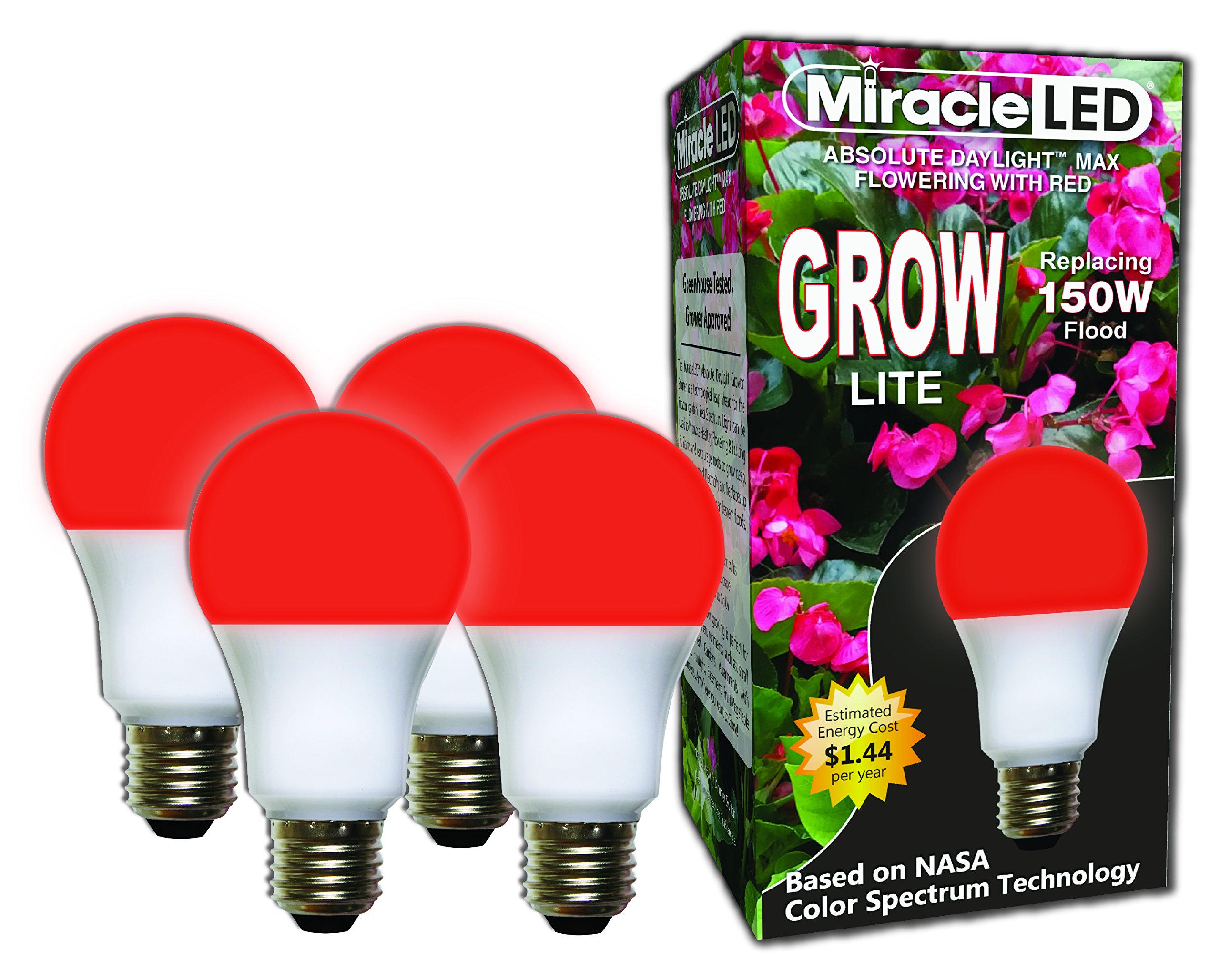 Miracle LED Absolute Daylight MAX Flowering Red LED Grow Lite - Replaces up to 150W - For Intense Flowering and Fruiting of your Indoor Plants and DIY Horticulture & Hydroponic Gardens (604278) 4 Pack