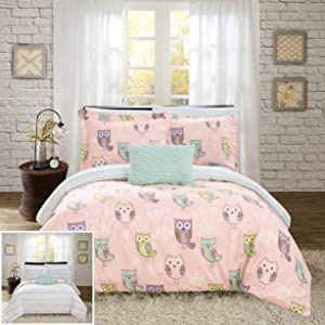 Chic Home Forest 8 Piece Reversible Comforter Cute It's A Hoot Owl Friends Youth Design Bed in a Bag-Sheet Set Decorative Pillow Shams Included, Full, Pink