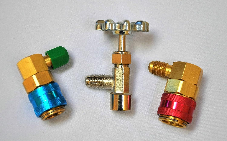 3 Tool Kit Manifold Gauge Set R22 R134a+Car Quick Snap Couplers+Can Tap AC HVAC