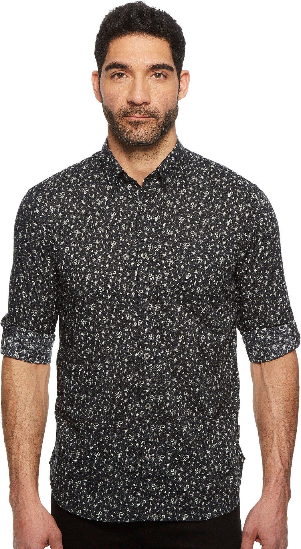 John Varvatos Star U.S.A. Men's Button Down Long Sleeve Roll-Up w/Single Pocket W530U1B Charcoal Medium