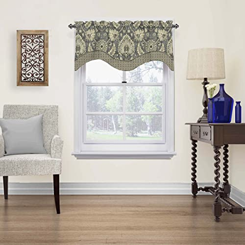 WAVERLY Valances for Windows – Clifton Hall 52 x 18 Short Curtain Valance Small Window Curtains Bathroom, Living Room and Kitchens, Flax