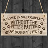 """Red Ocean """"A Home Is Not Complete Without The Pitter Patter Of Doggy Feet Dog"""" Plaque, Wood, Brown"""