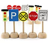 Kids Wooden Street Signs Playset, Wooden Street Sign Perfect Car and Train Set Stop and Street Signs