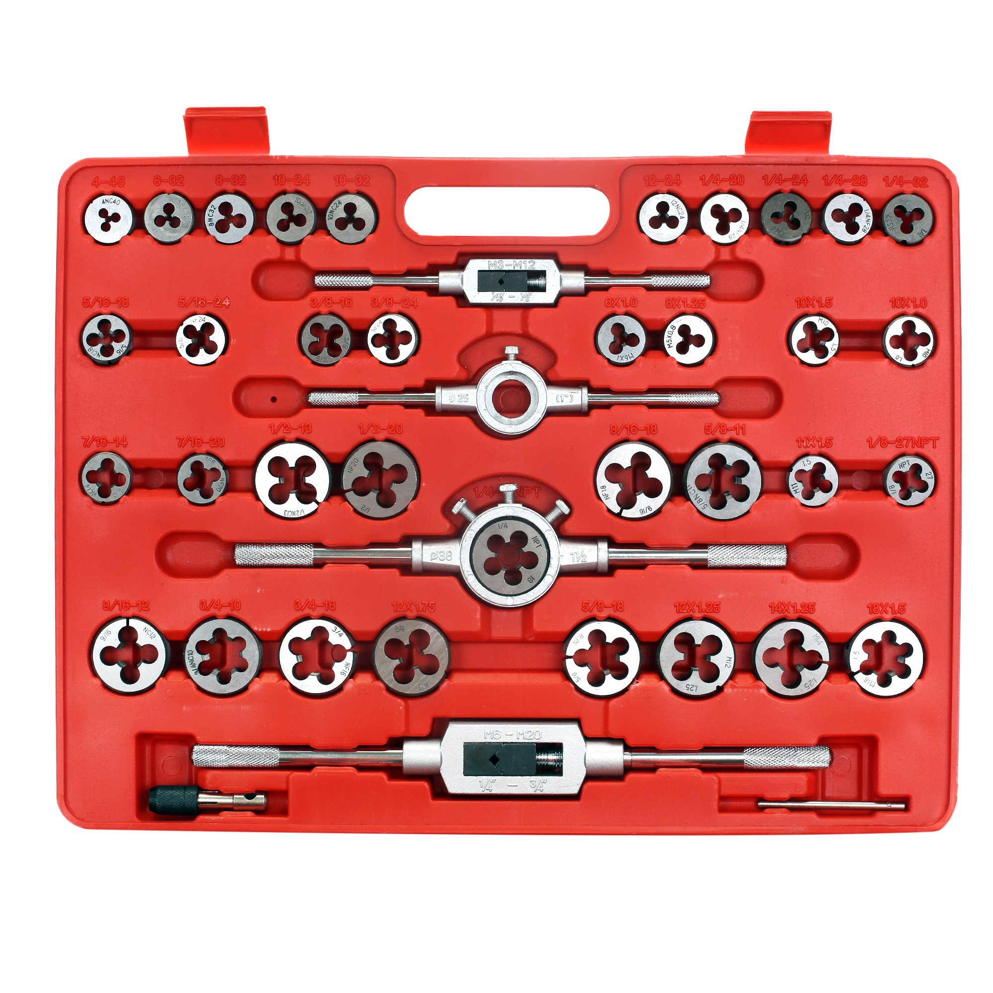 Zoostliss 110 Piece Bearing Steel Tap and Die Set Tungsten Steel Titanium Sae and Metric Tools by Zoostliss (Image #2)
