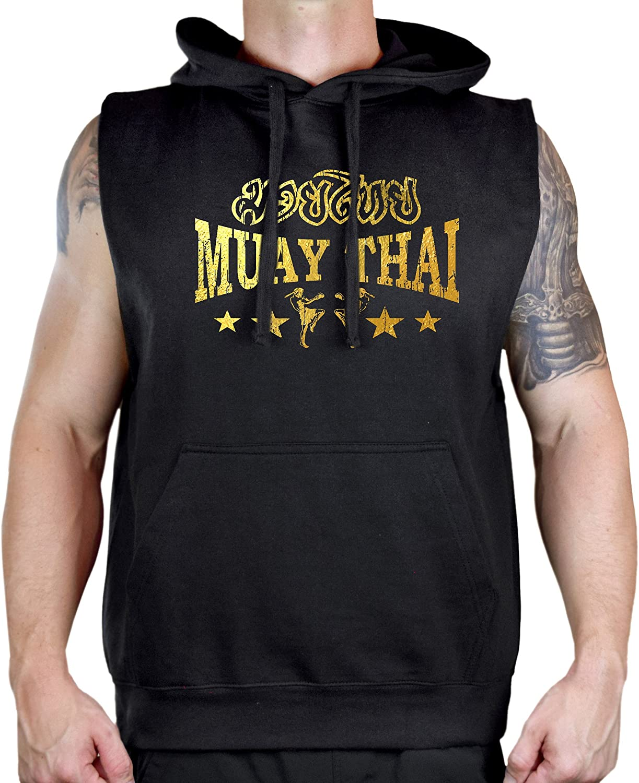 Interstate Apparel Mens Gold Foil Muay Thai Stars Sleeveless Vest Hoodie