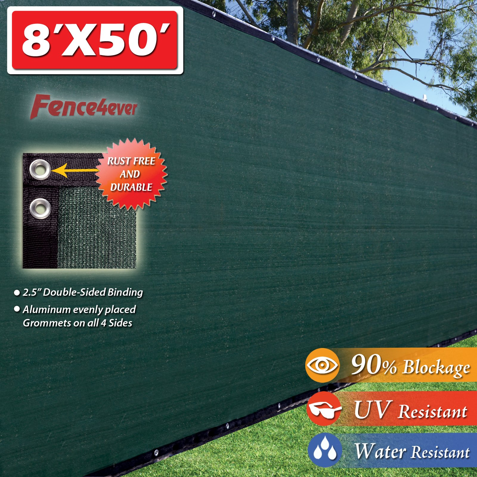 Fence4ever 8'x50' 8ft Tall 3rd Gen Olive Green Fence Privacy Screen Windscreen Shade Cover Mesh Fabric (Aluminum Grommets) Home, Court, or Construction