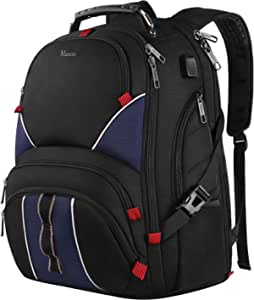 17 inch laptop backpack,Water Resistant TSA Friendly Business Computer Laptop Backpack with USB Port For Men Women Boys,Extra Large Durable Sturdy Anti Theft College School Student Basic Backpack-Blue