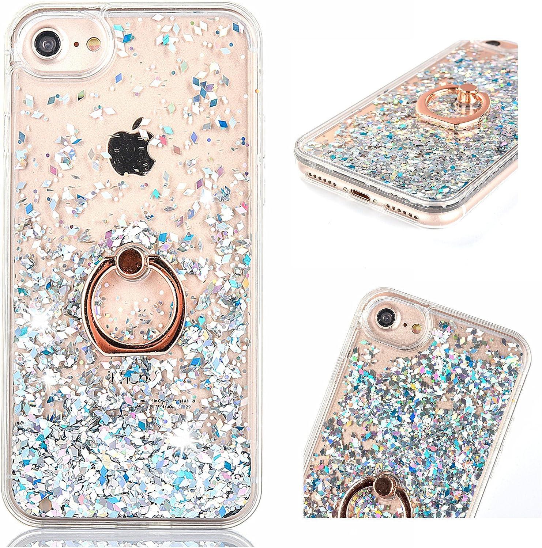 Etui Coque pour iPhone 6 / iPhone 6S, ZCRO Coque Case Paillette Liquide Housse Glitter Étui Transparente Rigide avec Anneau Bague Support 360 Degrés ...
