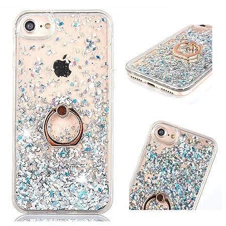 ZCRO Flüssig Hülle für iPhone SE/ 5 /iPhone 5S, Handyhülle Case Schutz Hülle Glitzer Flüssig Cover Transparent Silikon Rahmen