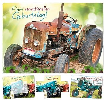 Geburtstagskarte Mit Dem Wow Effekt Retro Traktor Bulldog Trecker