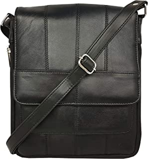 Roamlite Leather Travel Bag, Cross Body or Shoulder Holster Pouch for Flights, Holidays and Travelling, Expandable with 4 Pockets XL Strap RL161K Black