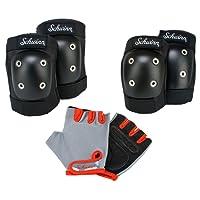 Schwinn Juego de almohadillas para niño con rodillera, codera y guantes