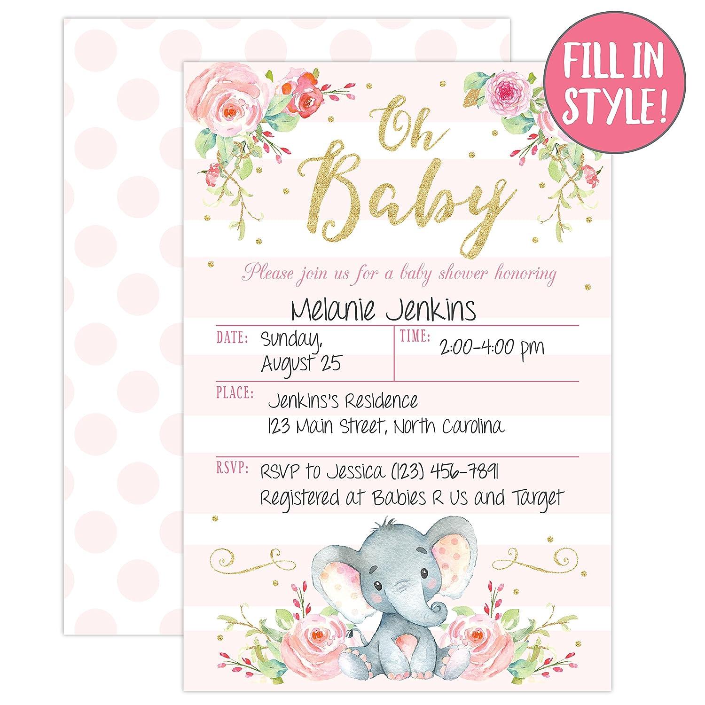 Amazon.com: Girl Elephant Baby Shower Invitation, Pink Elephant Baby ...